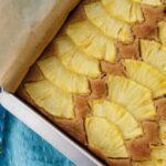 Ginger Pineapple Snack Cake in baking pan