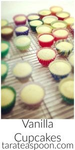 Pinterest image for Vanilla Cupcakes with text