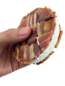 Bacon Weave Ice Cream Sandwich held in left hand