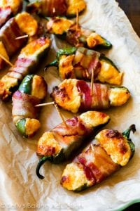 Cheesy Bacon Jalapeño Peppers on parchment