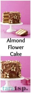 Pinterest image for Almond Flower Cake with text