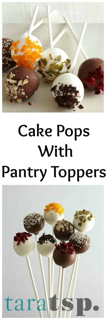 Pinterest image for Cake Pops With Pantry Toppers with text