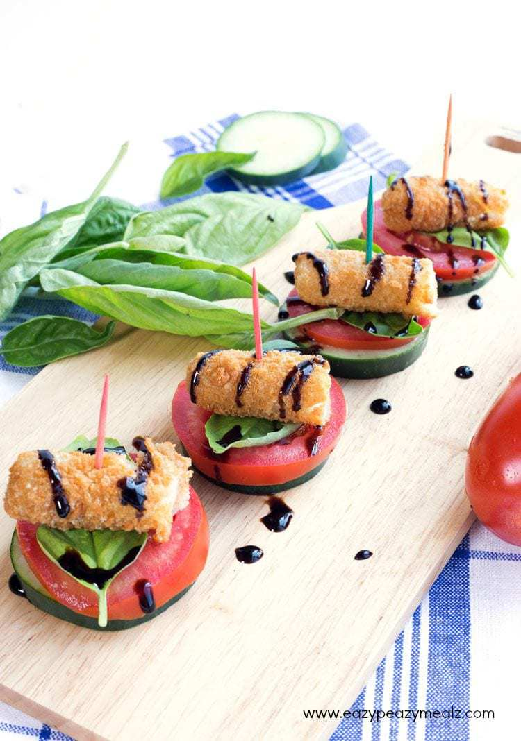 Fried Mozzarella Caprese Bites