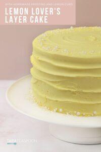 lemon layer cake on white pedestal pin