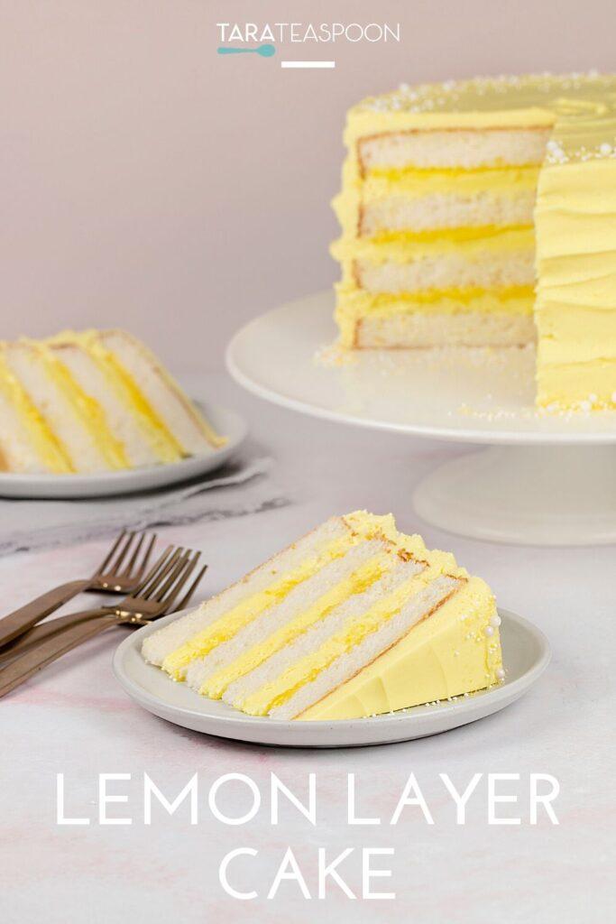 slice of lemon layer cake pin