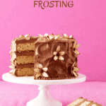 Milk chocolate frosting on layer cake pin