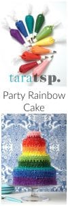 Pinterest image for Party Rainbow Cake with text