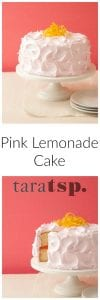 Pinterest image for Pink Lemonade Cake with text