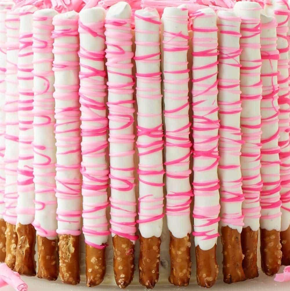 Pink Pretzel Party Cake