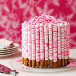 Pink Pretzel Party Cake recipe image
