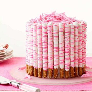 Alternative Pink Pretzel Party Cake recipe image