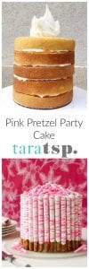 Pinterest image for Pink Pretzel Party Cake with text