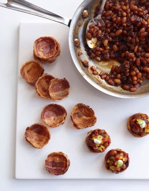 Baked Beans in a Bacon Cup