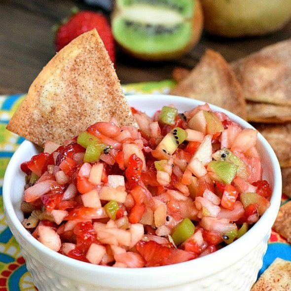 Real Housemoms Simple Fruit Salsa recipe image with text