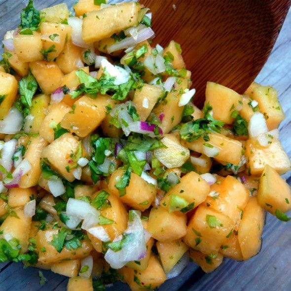 Local Kitchen Blog Fresh Cantaloupe Fruit Salsa recipe image