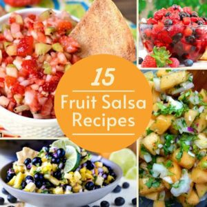 fruit salsa collage image with title circle