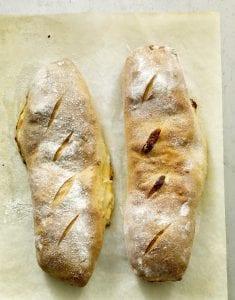 2 Alfredo Veggie Stromboli on parchment