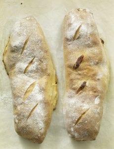 2 loaves of Alfredo Veggie Stromboli side by side