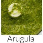 Pinterest image for Arugula Hazelnut Pesto with text