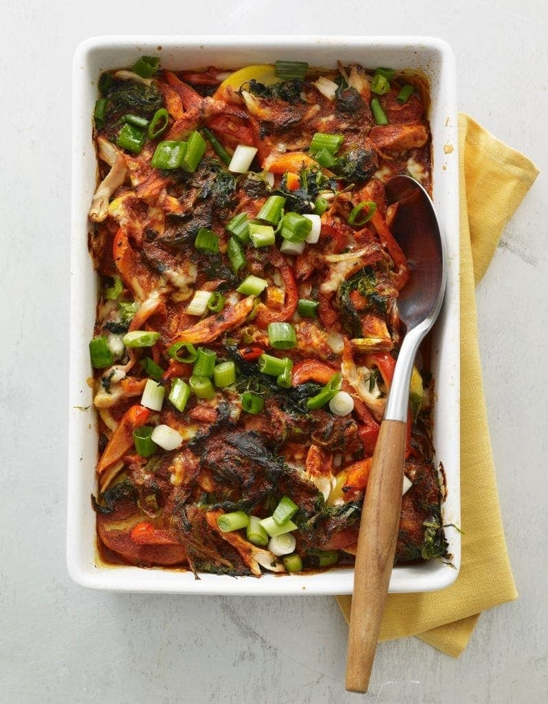 Spinach and Chicken Enchilada Casserole baked
