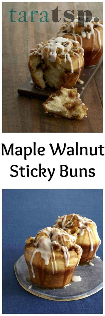 Pinterest image for Maple Walnut Sticky Buns with text