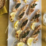 Nutty Chicken Kabobs on party platter