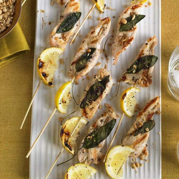 Nutty Lemon and Chicken Party Kabobs