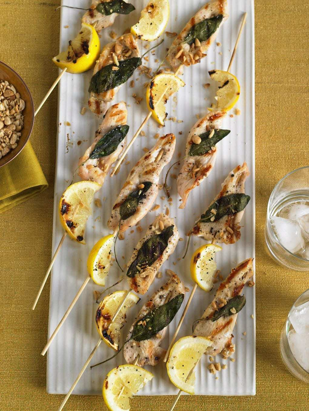 Nutty Lemon and Chicken Party Kabobs on plate