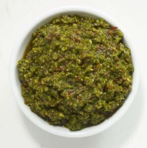 Close up recipe image of Sun Dried Tomato Pesto