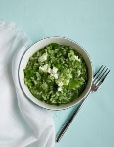 Overhead image of Spring Green Risotto recipe in bowl