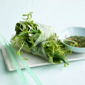 Veggie Spring Rolls get dipped in sweet and sour mint sauce for a perfect combo. Beautiful green vegetables never tasted so good.