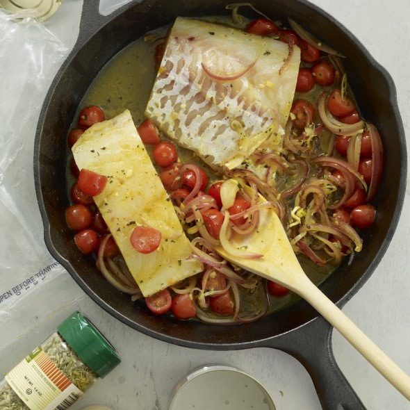 Coconut Curry Fish in cast iron skillet