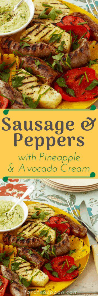 sausage and peppers with pineapple and avocado pin image