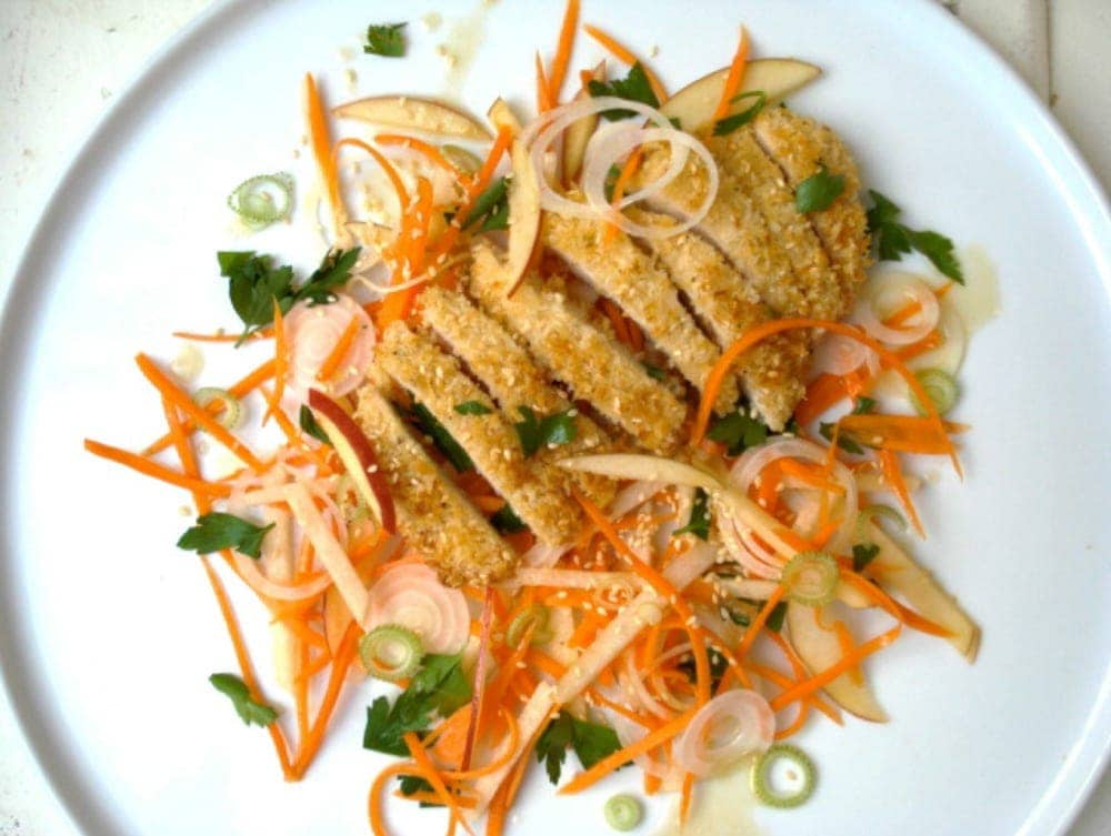 Sesame Chicken with Apple Carrot Slaw in a Plate