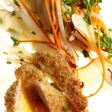 Close up of Sesame Chicken with Apple Carrot Slaw recipe image