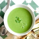 Bowl of Easy Pea Soup on tiles