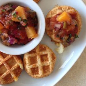 Mozzarella Waffle Bites with mango salsa