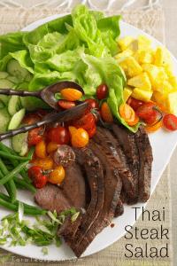 Thai steak salad on a platter
