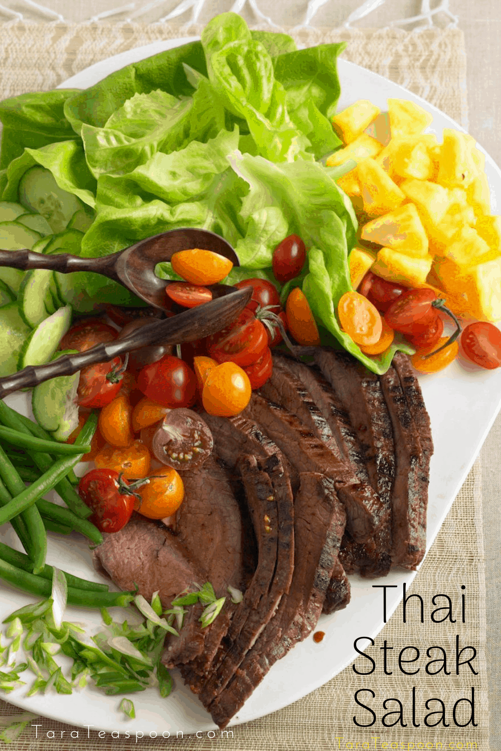 Thai steak salad on a platter