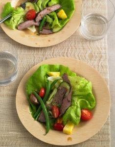 Thai Steak Salad on bamboo plate