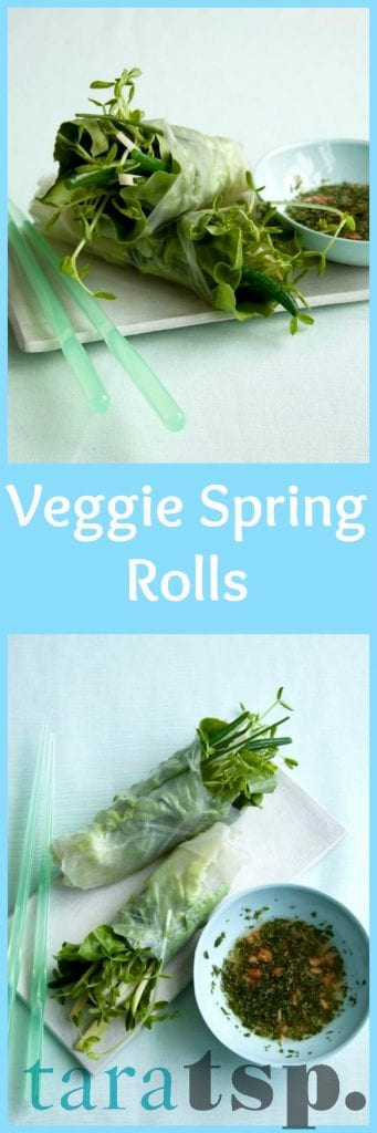 Pinterest image for Veggie Spring Rolls with text