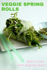 Veggie Spring Rolls with sauce pin