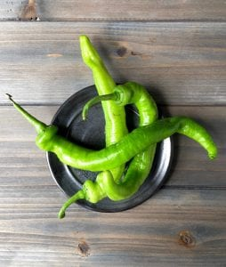 Anaheim Peppers in bowl for Summer Grape Guacamole recipe