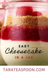 easy cheesecake in a jar recipe pin