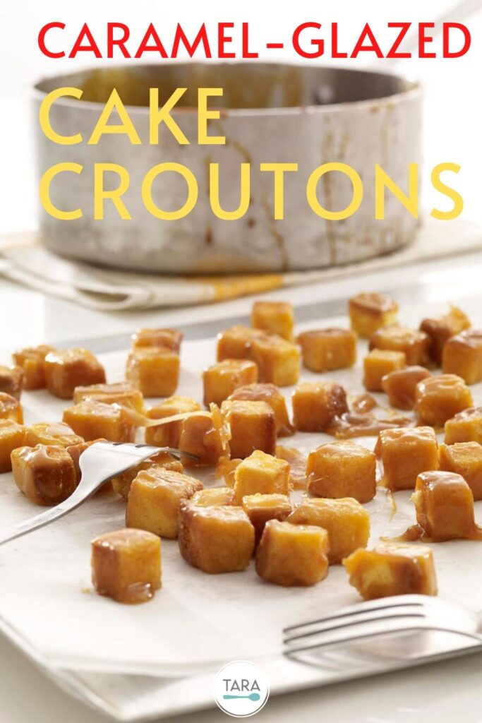 cake croutons with caramel glaze recipe pin