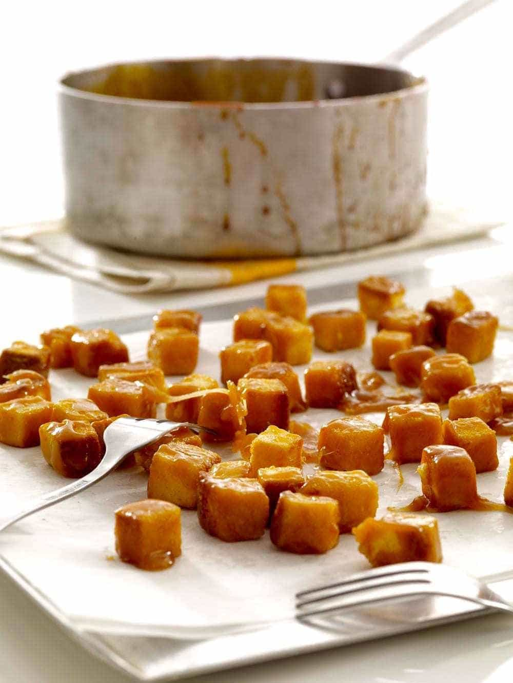 pound cake caramel croutons w pan in background