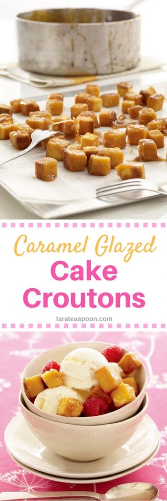 Caramel Glazed Cake Croutons long pin