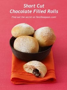 Pinterest image of Chocolate filled rolls recipe