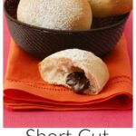 Pinterest image for Short Cut Chocolate Filled Rolls with text