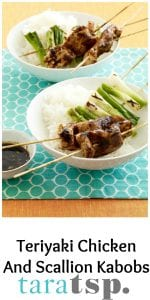 Pinterest image for Teriyaki Chicken And Scallion Kabobs with text